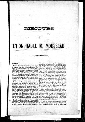 Discours de l'Honorable M. Mousseau