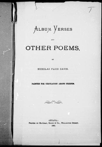 Album verses and other poems
