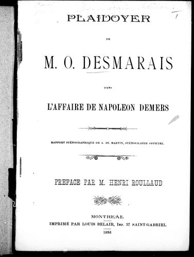 Download Plaidoyer de M.O. Desmarais dans l'affaire de Napoléon Demers
