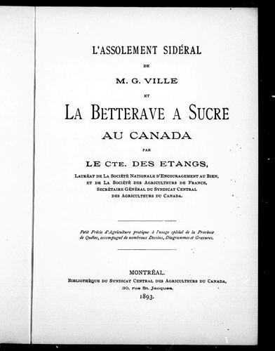L' assolement sidéral de M. G. Ville et la betterave à sucre au Canada