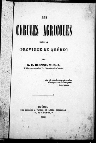 Les cercles agricoles dans la province de Québec