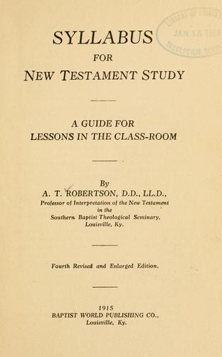 Download Syllabus for New Testament study