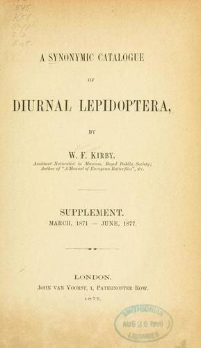 Download A synonymic catalogue of diurnal Lepidoptera.