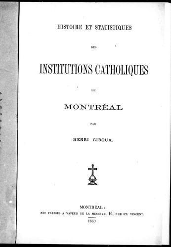 Histoire et statistiques des institutions catholiques de Montréal