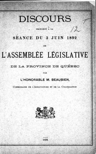 Download Discours prononcé à la séance du 3 juin 1892 de l'Assemblée législative de la province de Québec
