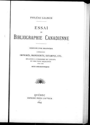 Essai de bibliographie canadienne