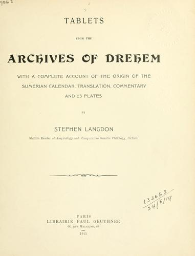 Tablets from the Archives of Drehem