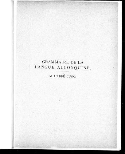 Grammaire de la langue algonquine