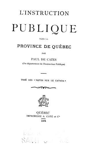 Download L' instruction publique dans la province de Québec