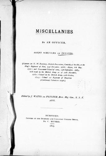 Download Miscellanies by an officer