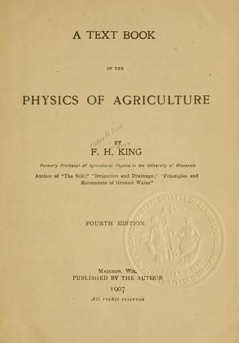 Download A text book of the physics of agriculture