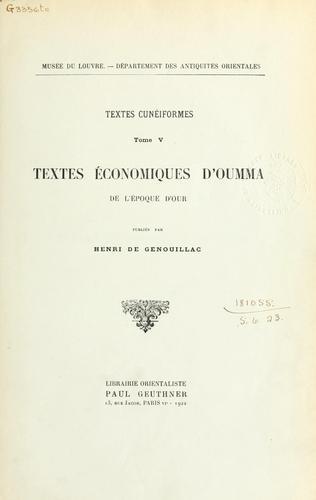 Textes économiques d'Oumma de l'époque d'Our.