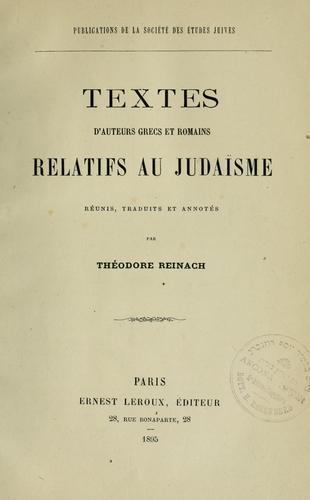 Download Textes d'auteurs grecs et romains relatifs au judaïsme.
