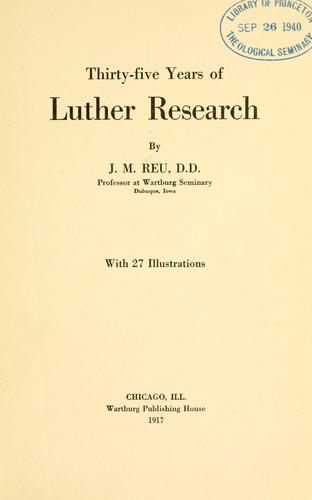 Download Thirty-five years of Luther research