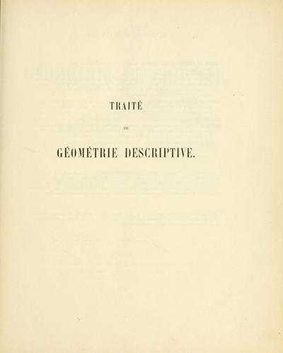 Download Traité de géométrie descriptive.