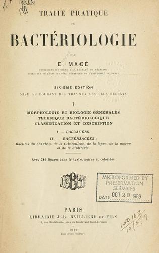 Traité pratique de bactériologie