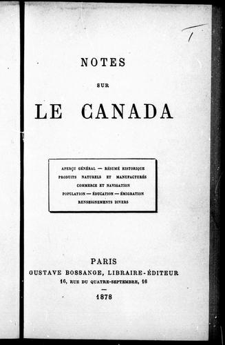 Download Notes sur le Canada