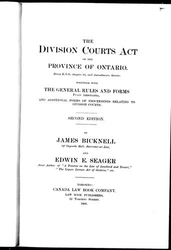 Download The Division Courts Act of the province of Ontario