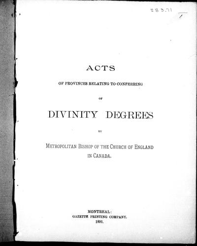 Acts of provinces relating to conferring of divinity degrees by Metropolitan Bishop of the Church of England in Canada