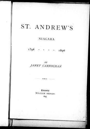Download St. Andrew's, Niagara, 1794-1894