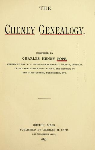 Download The Cheney genealogy