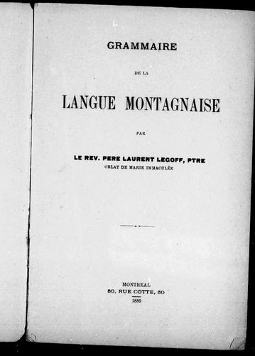 Download Grammaire de la langue montagnaise
