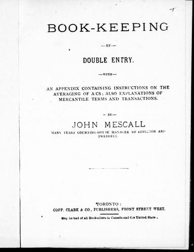 Book-keeping by double entry