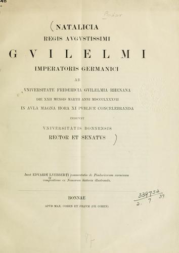 Commentatio de Pindaricorum carminum compositione ex Nomorum historia illustranda.