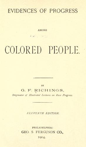 Download Evidences of progress among colored people