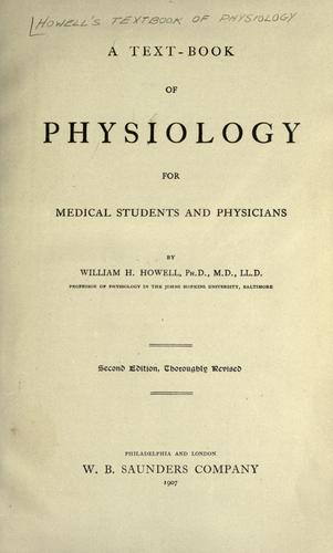 A text-book of physiology, for medical students and physicians