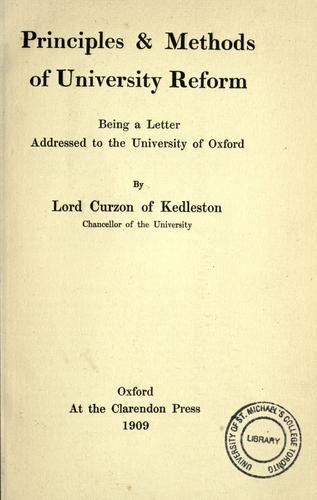Principles & methods of university reform