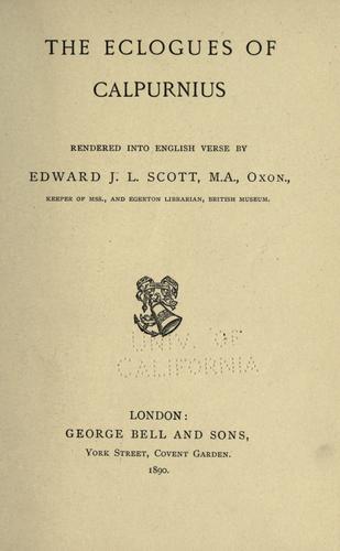 The eclogues of Calpurnius