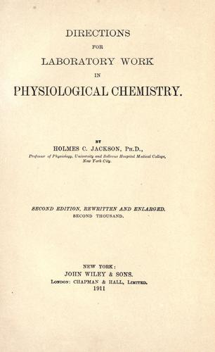 Directions for laboratory work in physiological chemistry