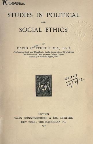 Studies in political and social ethics.