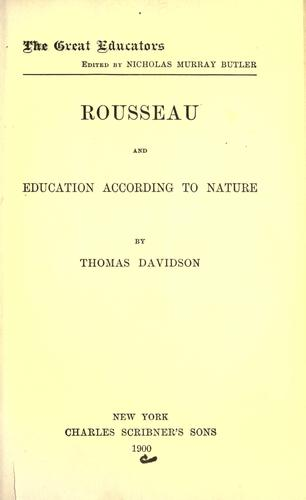 Download Rousseau and education according to nature. –.