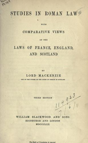 Studies in Roman law with comparative views of the laws of France, England, and Scotland