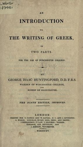 Download An introduction to the writing of Greek