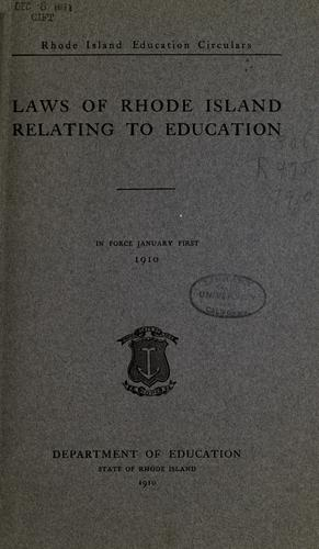 Download Laws of Rhode Island relating to education.