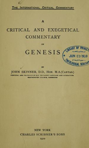 Download A critical and exegetical commentary on Genesis