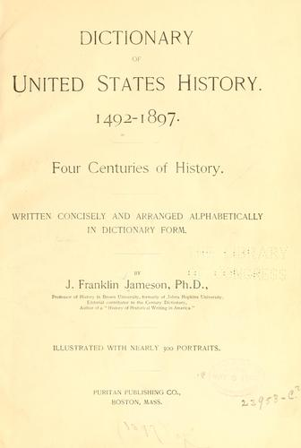Dictionary of United States history.