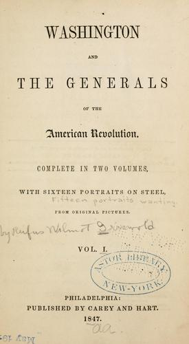 Download Washington and the generals of the American Revolution …