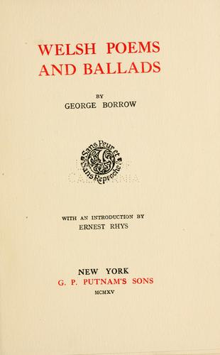 Welsh poems and ballads