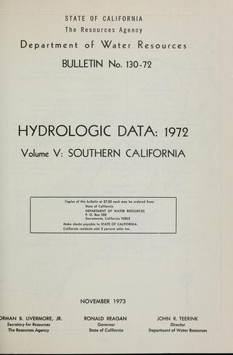 Download Hydrologic data, 1972.