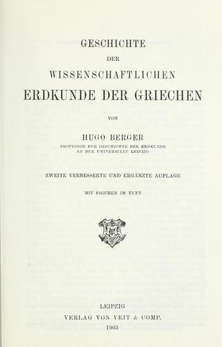 Download Geschichte der wissenschaftlichen Erdkunde der Griechen