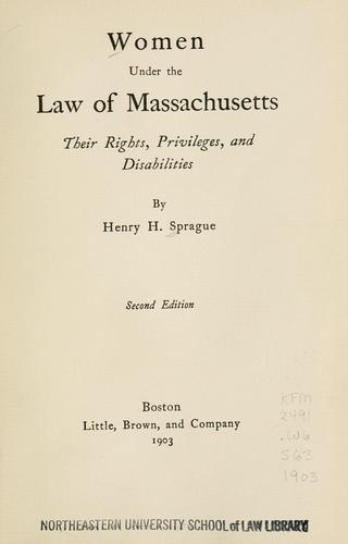 Download Women under the law of Massachusetts