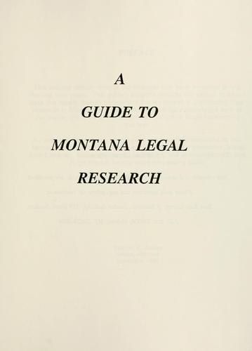 A guide to Montana legal research