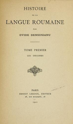 Download Histoire de la langue roumaine
