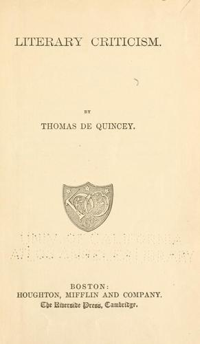 The works of Thomas De Quincey.