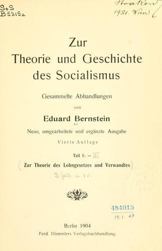 Zur Theorie und Geschichte des Socialismus