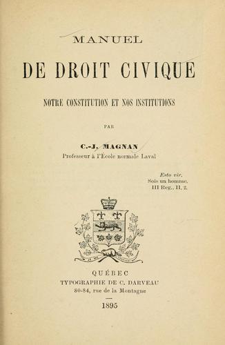 Manuel de droit civique